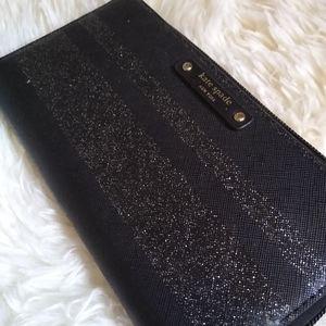 Black & Glitter Kate Spade Continental Zip Around